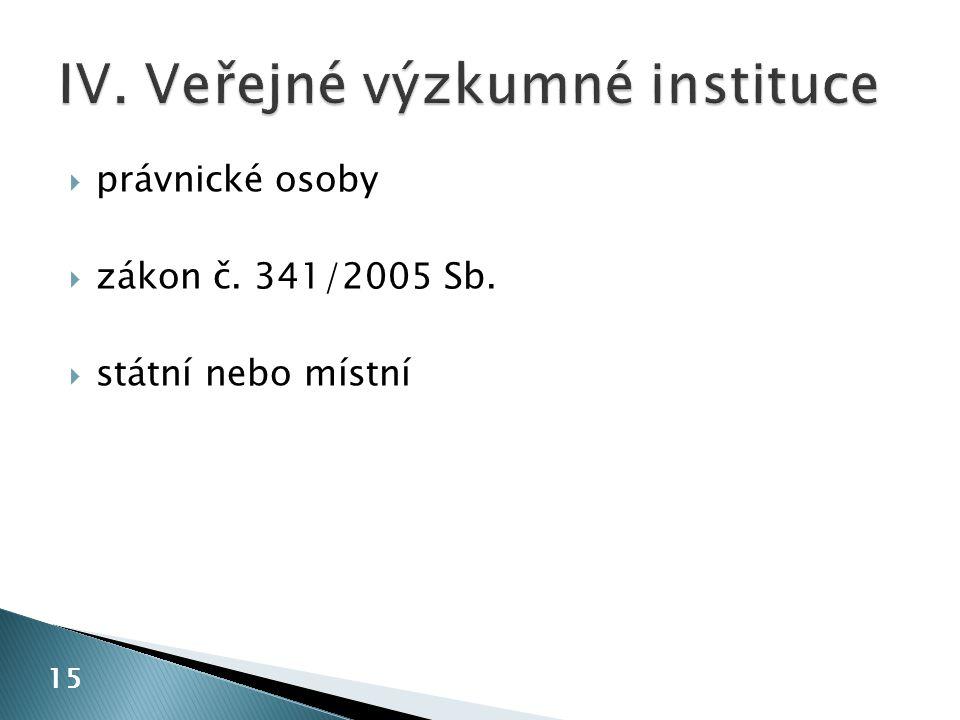 IV. Veřejné výzkumné instituce