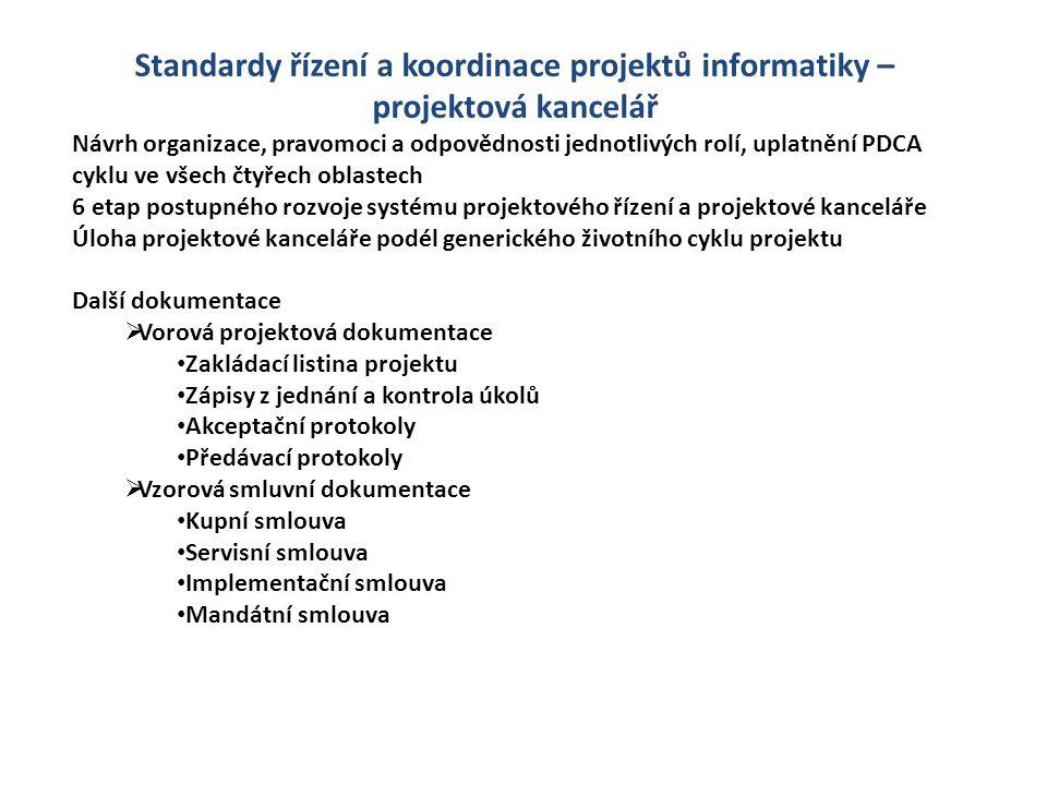 Standardy řízení a koordinace projektů informatiky – projektová kancelář