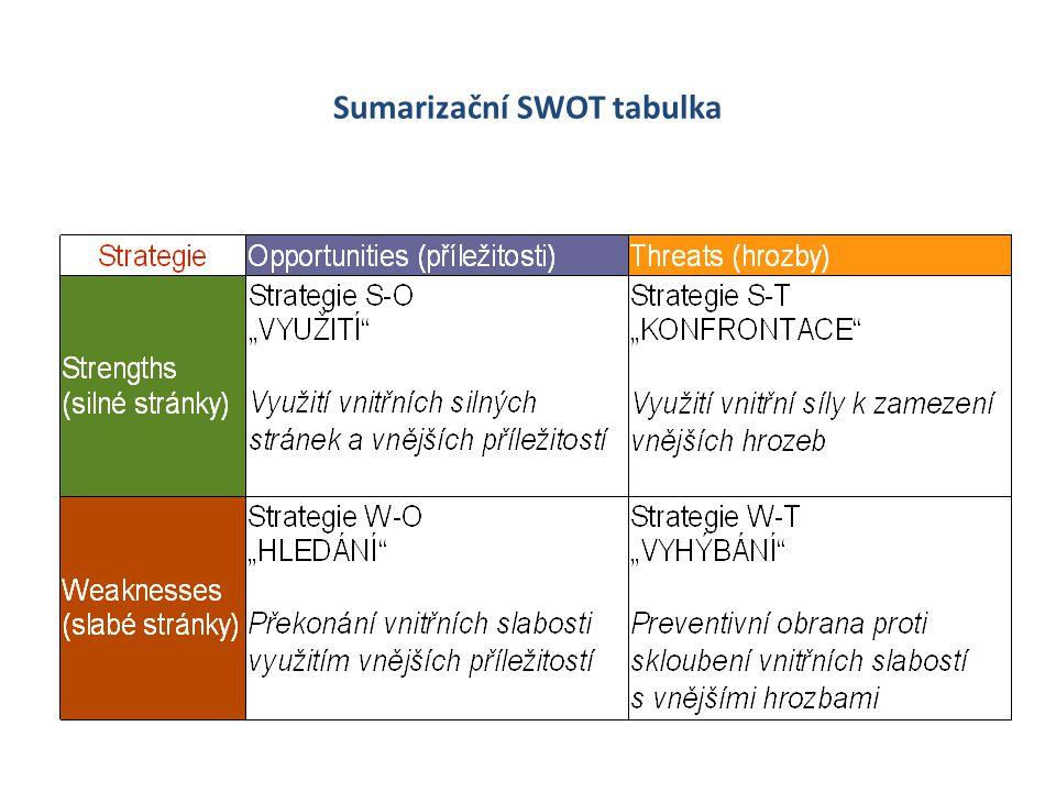 Sumarizační SWOT tabulka