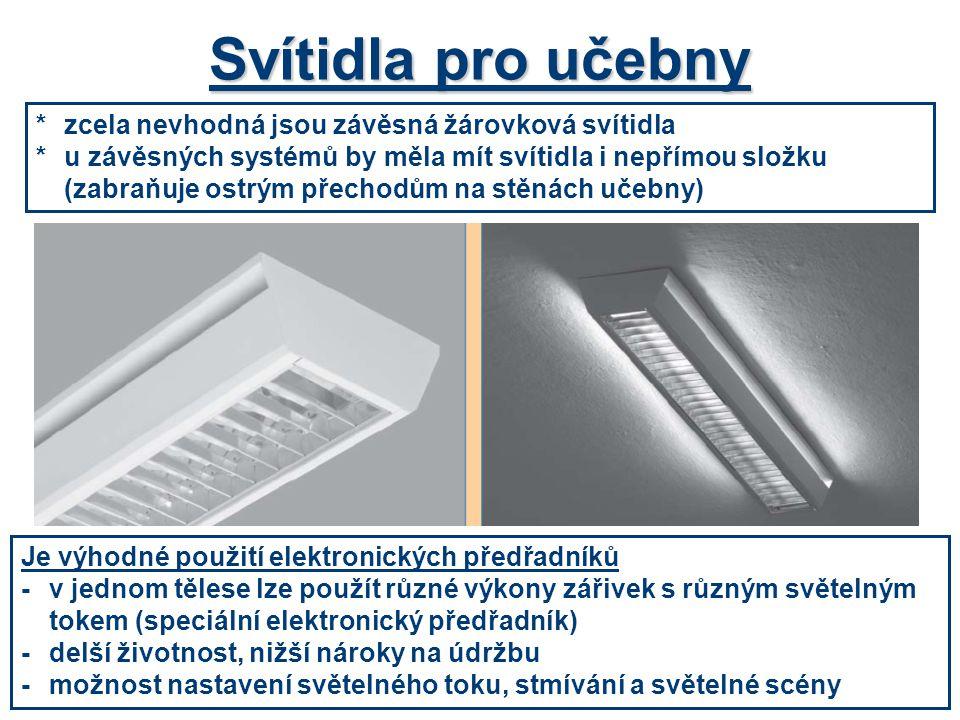 Svítidla pro učebny * zcela nevhodná jsou závěsná žárovková svítidla