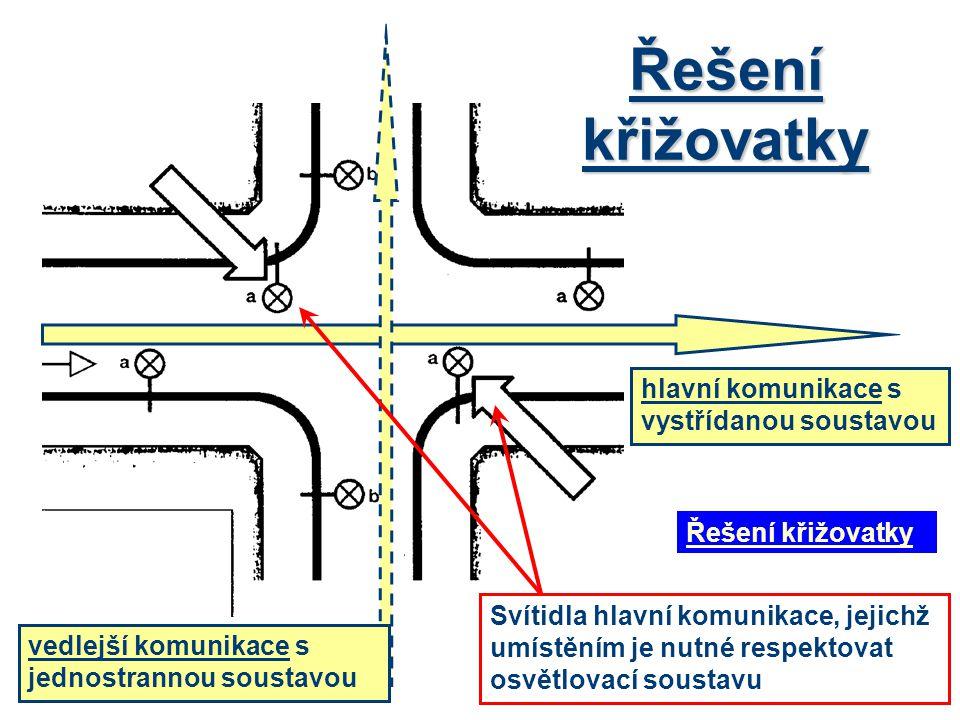 Řešení křižovatky hlavní komunikace s vystřídanou soustavou