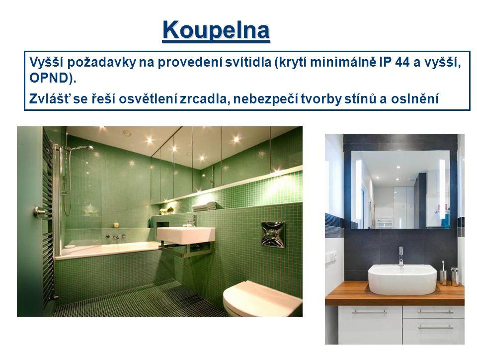 Koupelna Vyšší požadavky na provedení svítidla (krytí minimálně IP 44 a vyšší, OPND).