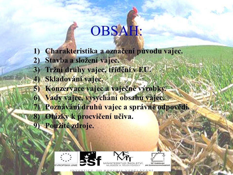 OBSAH: Charakteristika a označení původu vajec.
