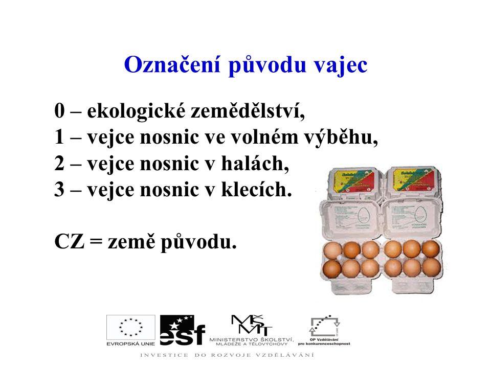 Označení původu vajec 0 – ekologické zemědělství,