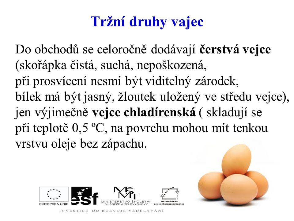 Tržní druhy vajec Do obchodů se celoročně dodávají čerstvá vejce (skořápka čistá, suchá, nepoškozená,