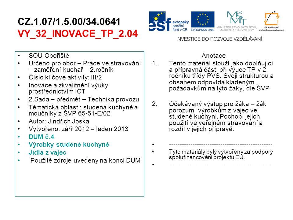 CZ.1.07/1.5.00/34.0641 VY_32_INOVACE_TP_2.04 SOU Obořiště