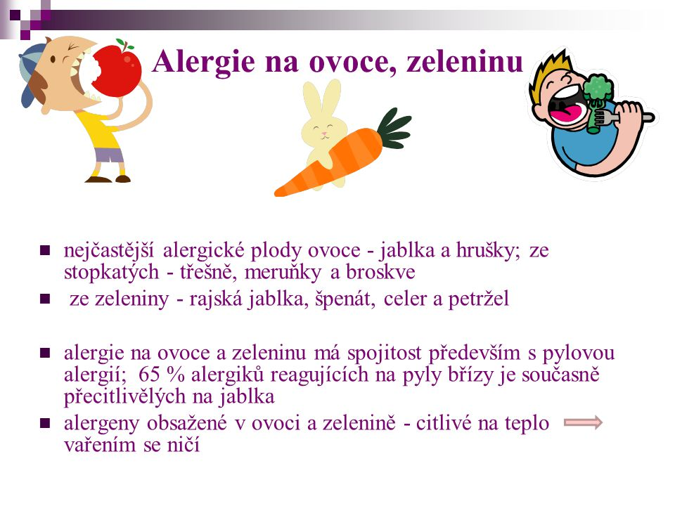 Alergie na ovoce, zeleninu