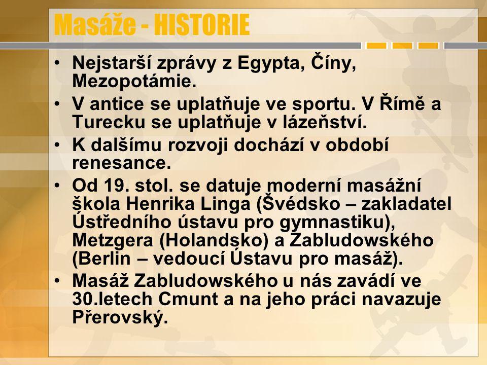 Masáže - HISTORIE Nejstarší zprávy z Egypta, Číny, Mezopotámie.