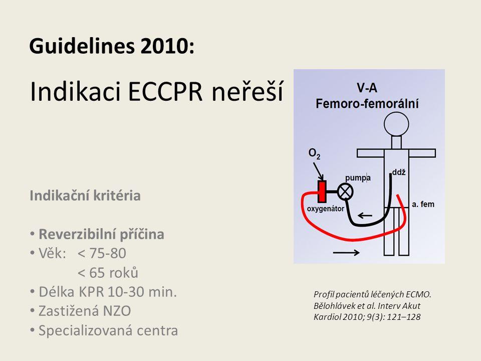 Indikaci ECCPR neřeší Guidelines 2010: Indikační kritéria