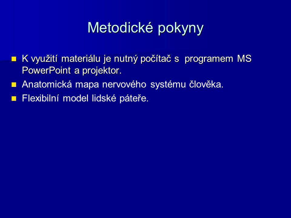 Metodické pokyny K využití materiálu je nutný počítač s programem MS PowerPoint a projektor. Anatomická mapa nervového systému člověka.