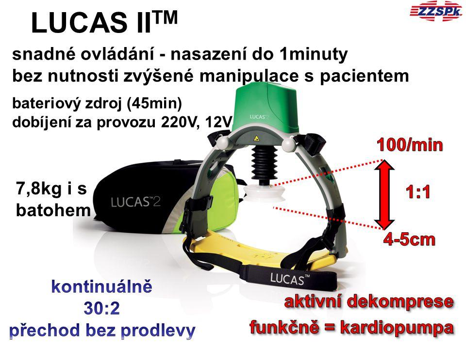 LUCAS IITM snadné ovládání - nasazení do 1minuty bez nutnosti zvýšené manipulace s pacientem. bateriový zdroj (45min)