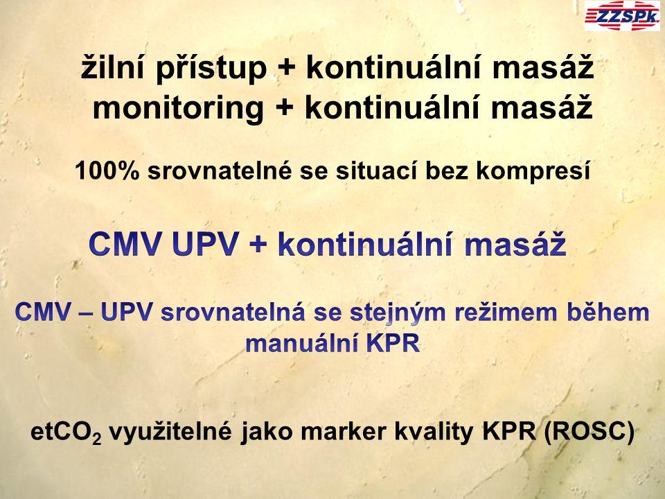 žilní přístup + kontinuální masáž monitoring + kontinuální masáž