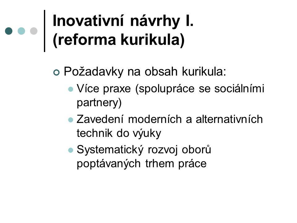 Inovativní návrhy I. (reforma kurikula)