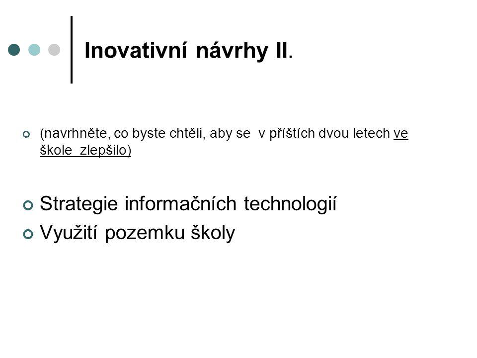 Inovativní návrhy II. Strategie informačních technologií