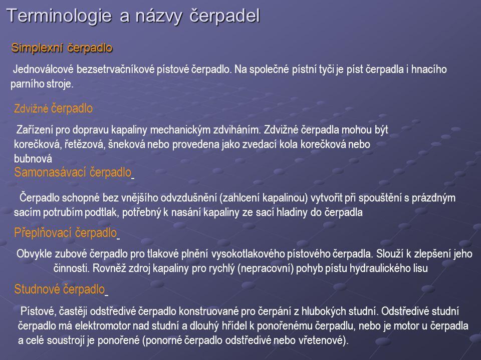 Terminologie a názvy čerpadel