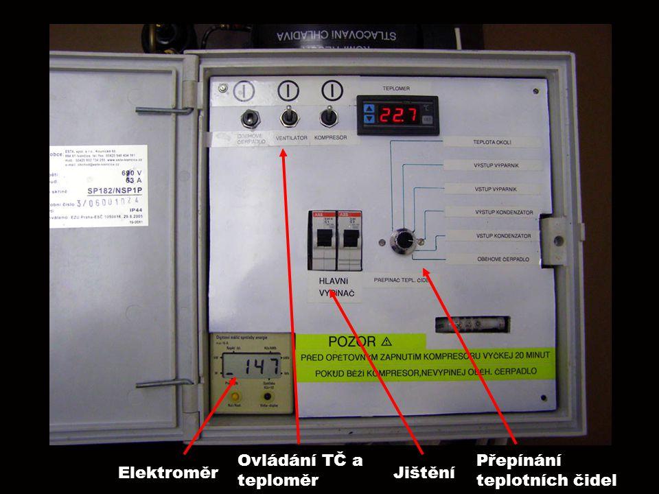 Ovládání TČ a teploměr Přepínání teplotních čidel Elektroměr Jištění