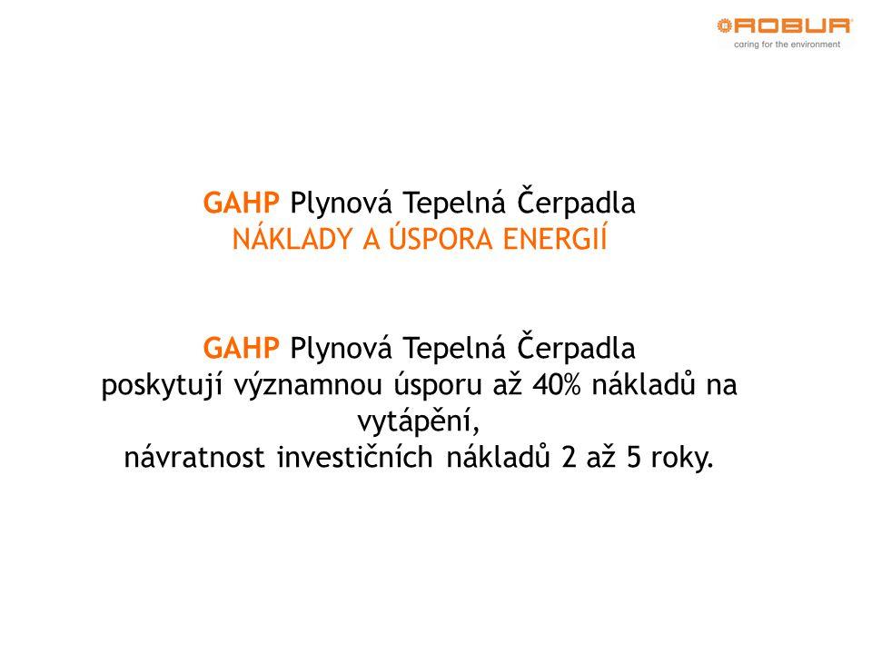 GAHP Plynová Tepelná Čerpadla NÁKLADY A ÚSPORA ENERGIÍ