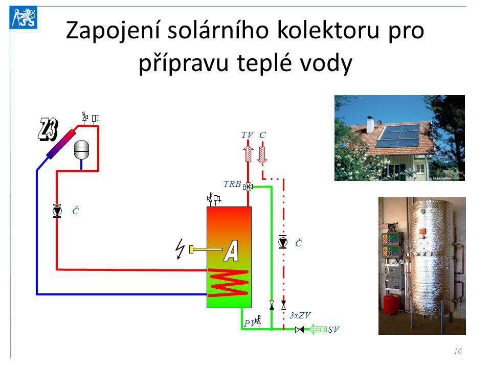 Zapojení solárního kolektoru pro přípravu teplé vody