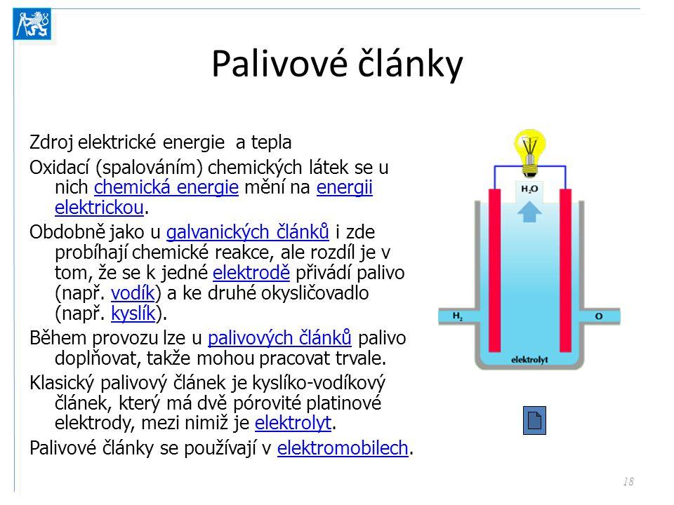 Palivové články Zdroj elektrické energie a tepla