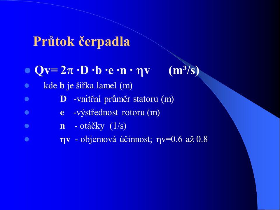 Průtok čerpadla Qv= 2 ·D ·b ·e ·n · v (m³/s)