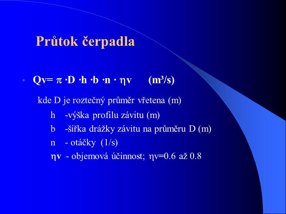 kde D je roztečný průměr vřetena (m)