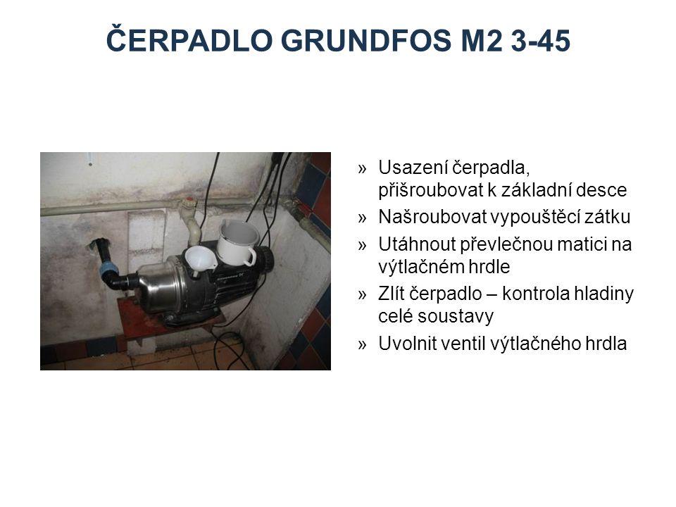 ČERPADLO grundfos M2 3-45 Zdroje. Usazení čerpadla, přišroubovat k základní desce. Našroubovat vypouštěcí zátku.