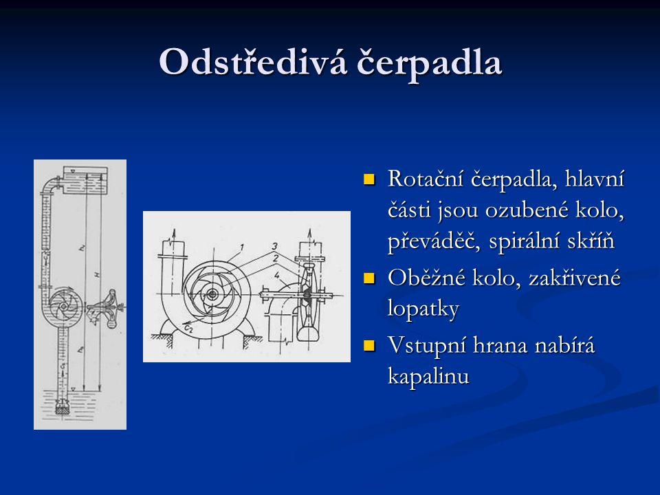 Odstředivá čerpadla Rotační čerpadla, hlavní části jsou ozubené kolo, převáděč, spirální skříň. Oběžné kolo, zakřivené lopatky.