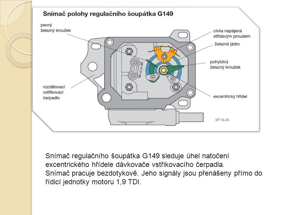 Snímač regulačního šoupátka G149 sleduje úhel natočení excentrického hřídele dávkovače vstřikovacího čerpadla.