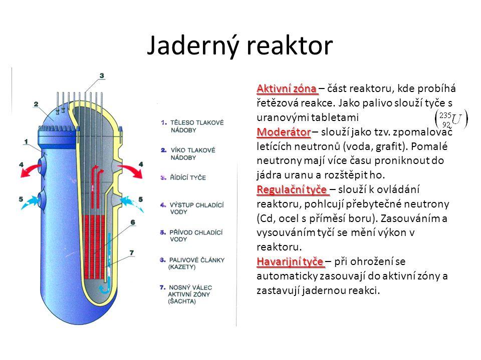 Jaderný reaktor Aktivní zóna – část reaktoru, kde probíhá řetězová reakce. Jako palivo slouží tyče s uranovými tabletami.