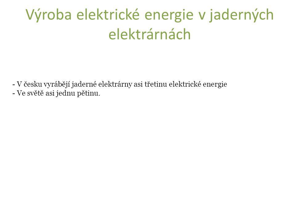 Výroba elektrické energie v jaderných elektrárnách