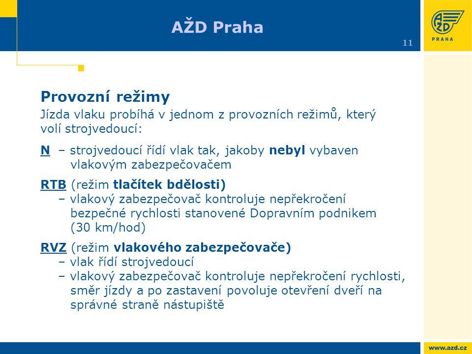 AŽD Praha Provozní režimy