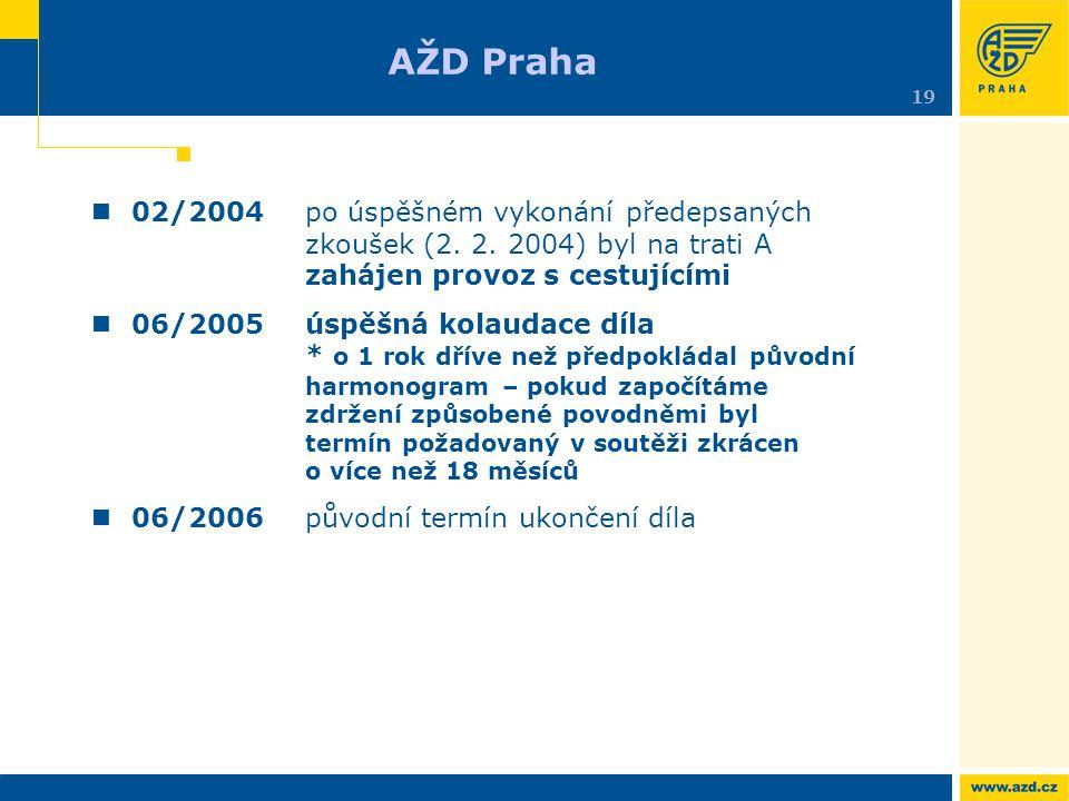 AŽD Praha 19. 02/2004 po úspěšném vykonání předepsaných zkoušek (2. 2. 2004) byl na trati A zahájen provoz s cestujícími.