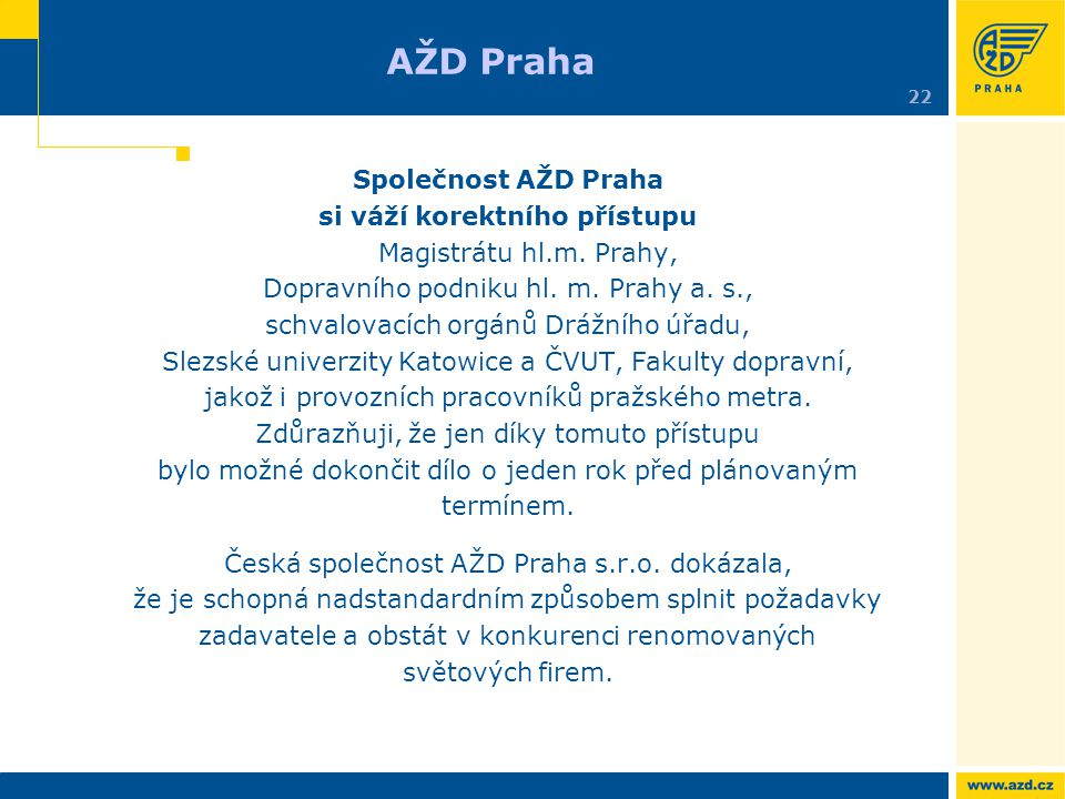 AŽD Praha Společnost AŽD Praha
