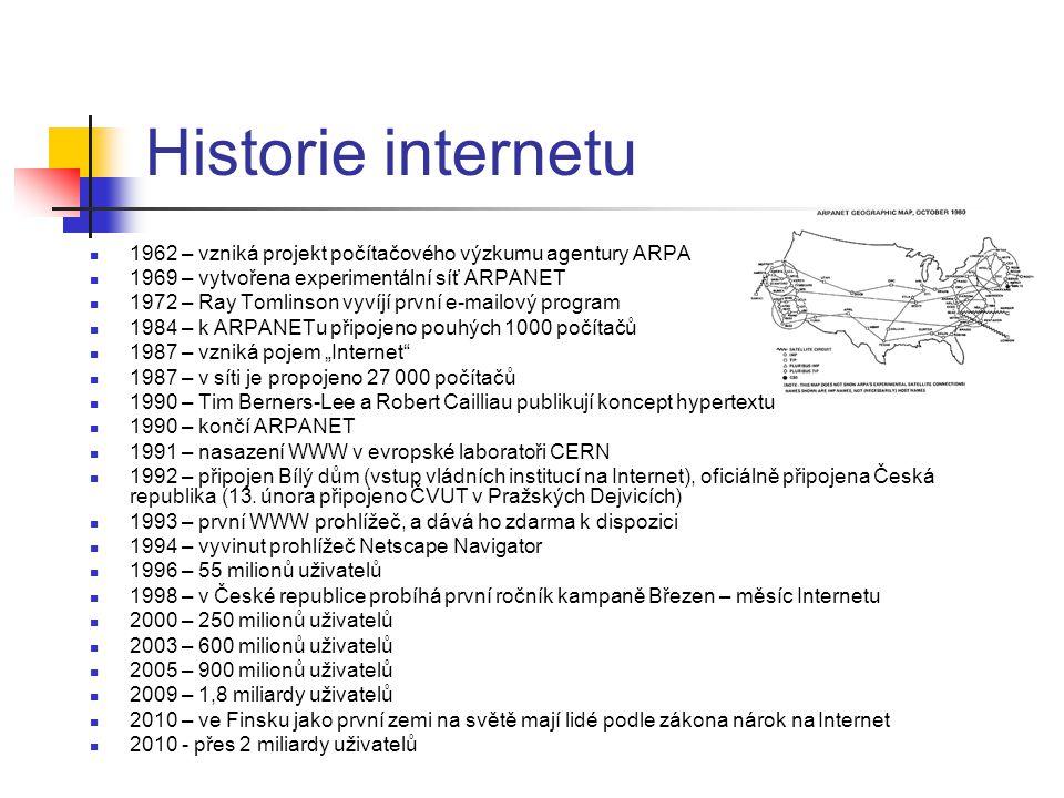 Historie internetu 1962 – vzniká projekt počítačového výzkumu agentury ARPA. 1969 – vytvořena experimentální síť ARPANET.