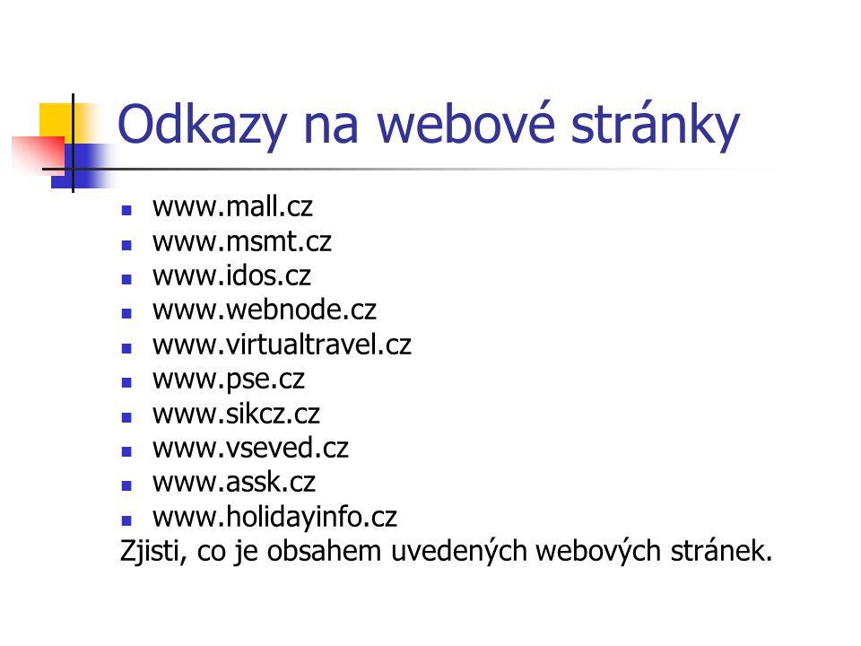 Odkazy na webové stránky