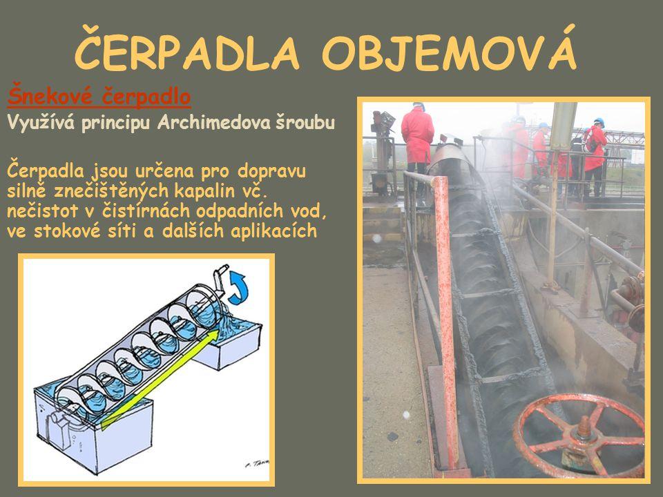 ČERPADLA OBJEMOVÁ Šnekové čerpadlo Využívá principu Archimedova šroubu