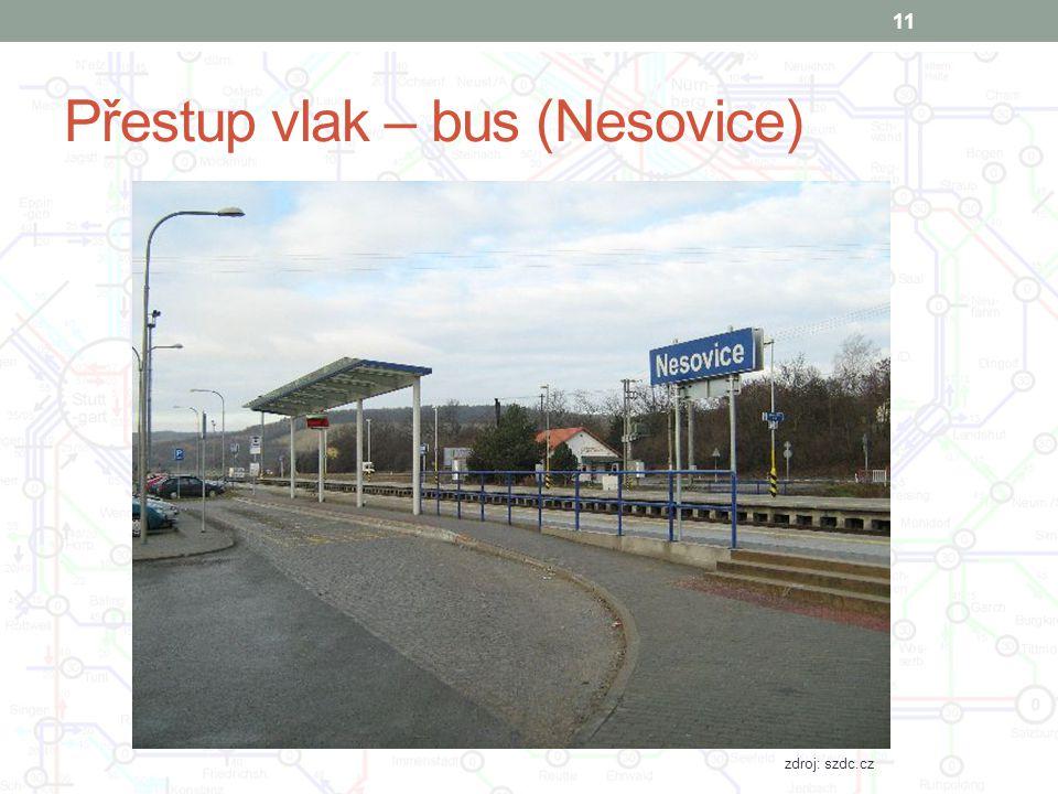 Přestup vlak – bus (Nesovice)