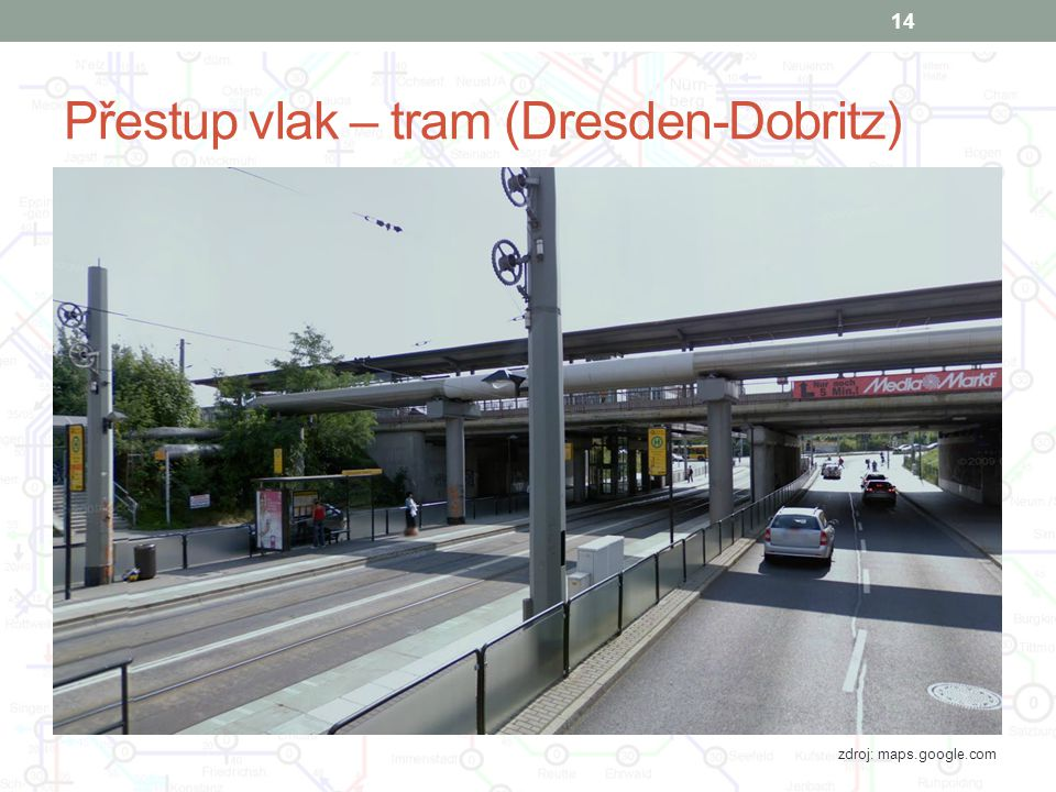Přestup vlak – tram (Dresden-Dobritz)