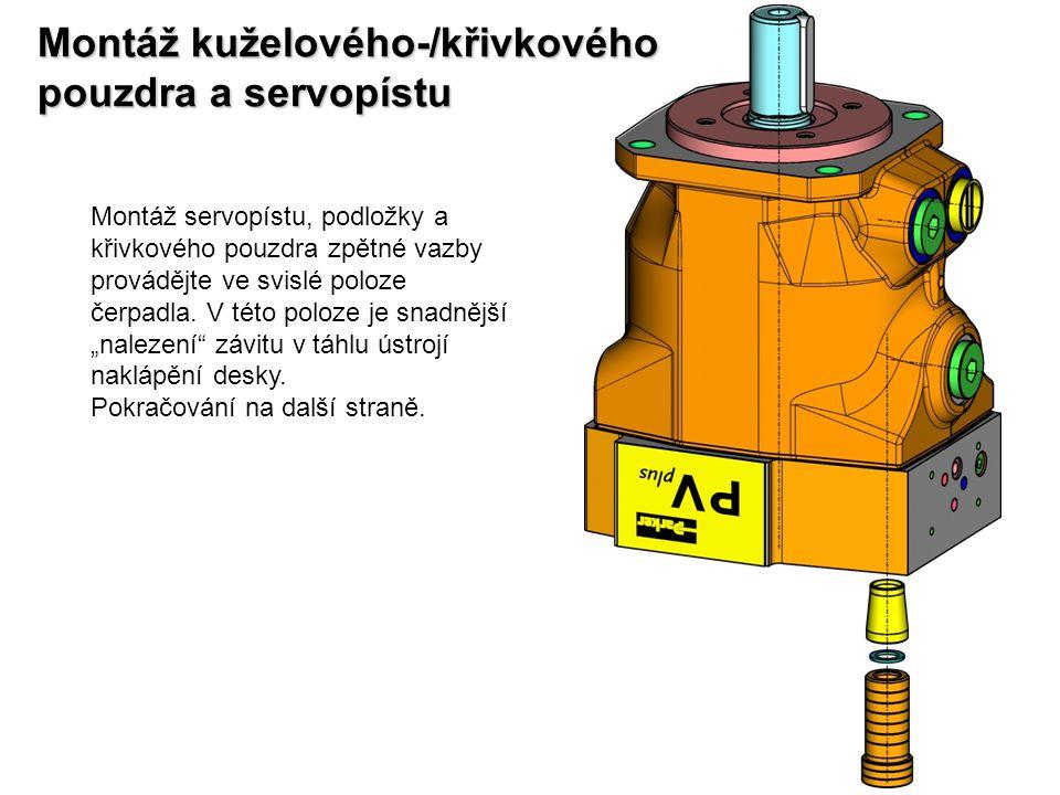 Montáž kuželového-/křivkového pouzdra a servopístu