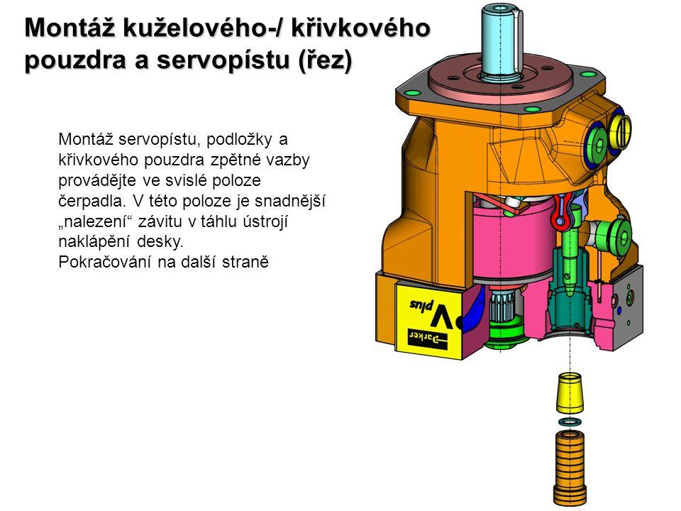 Montáž kuželového-/ křivkového pouzdra a servopístu (řez)