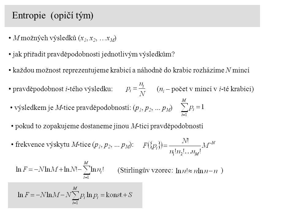 Entropie (opičí tým) M možných výsledků (x1, x2, …xM)