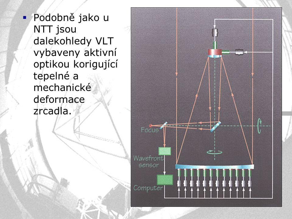 Podobně jako u NTT jsou dalekohledy VLT vybaveny aktivní optikou korigující tepelné a mechanické deformace zrcadla.