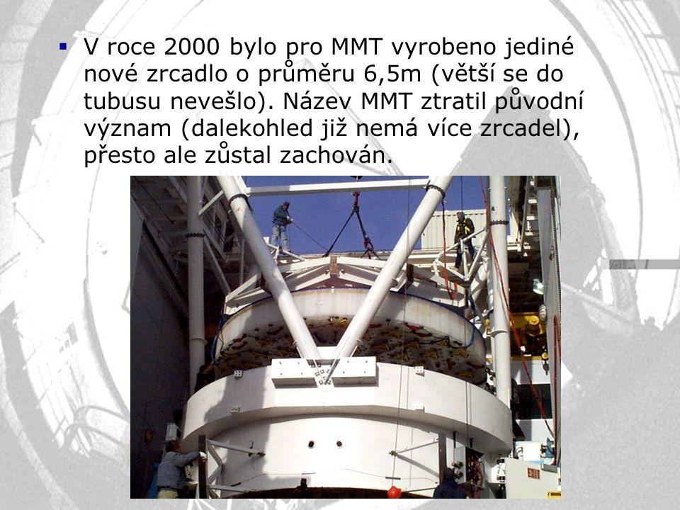 V roce 2000 bylo pro MMT vyrobeno jediné nové zrcadlo o průměru 6,5m (větší se do tubusu nevešlo).
