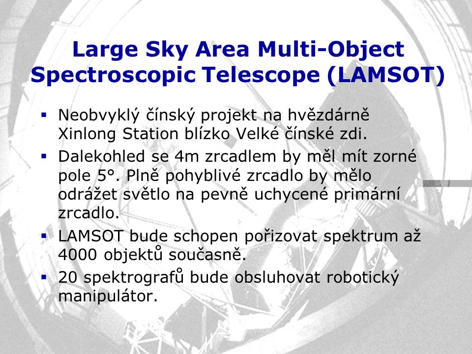 Large Sky Area Multi-Object Spectroscopic Telescope (LAMSOT)