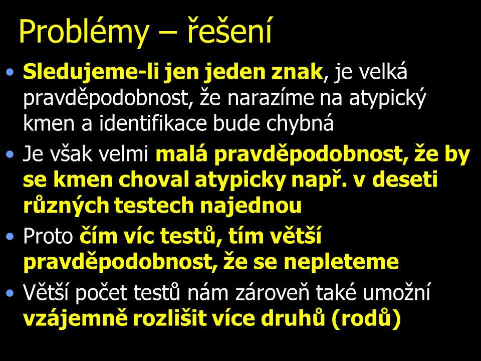 Problémy – řešení Sledujeme-li jen jeden znak, je velká pravděpodobnost, že narazíme na atypický kmen a identifikace bude chybná.