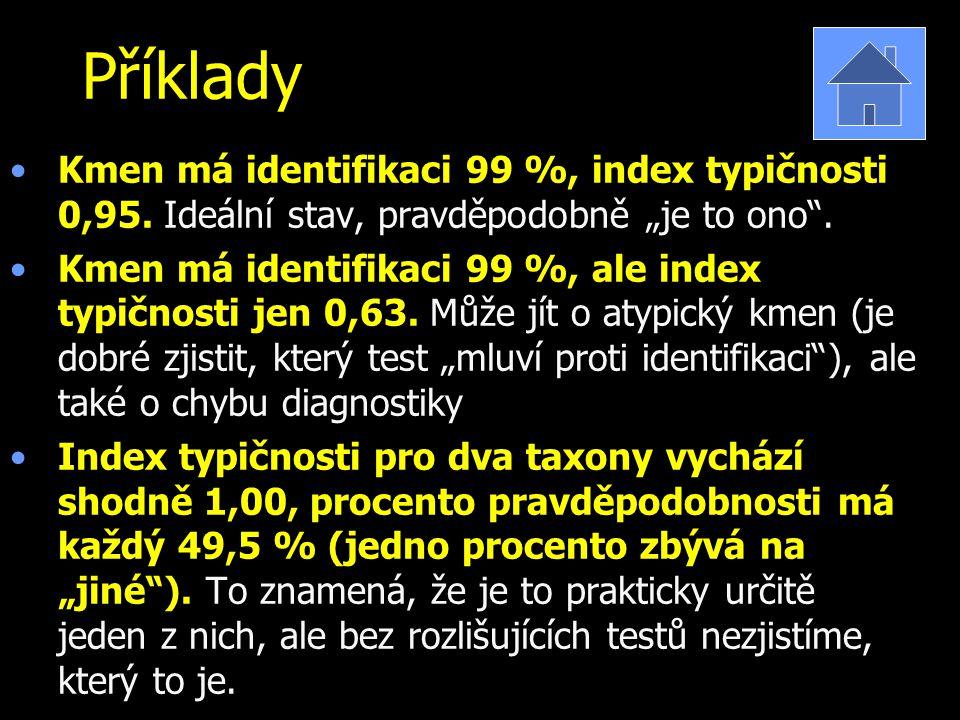 """Příklady Kmen má identifikaci 99 %, index typičnosti 0,95. Ideální stav, pravděpodobně """"je to ono ."""