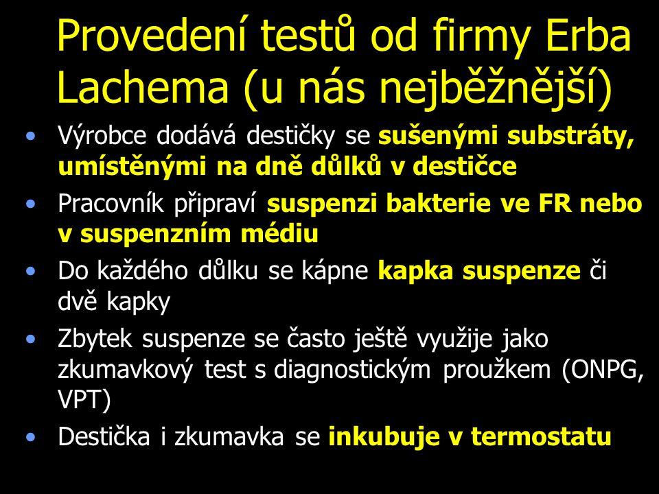 Provedení testů od firmy Erba Lachema (u nás nejběžnější)