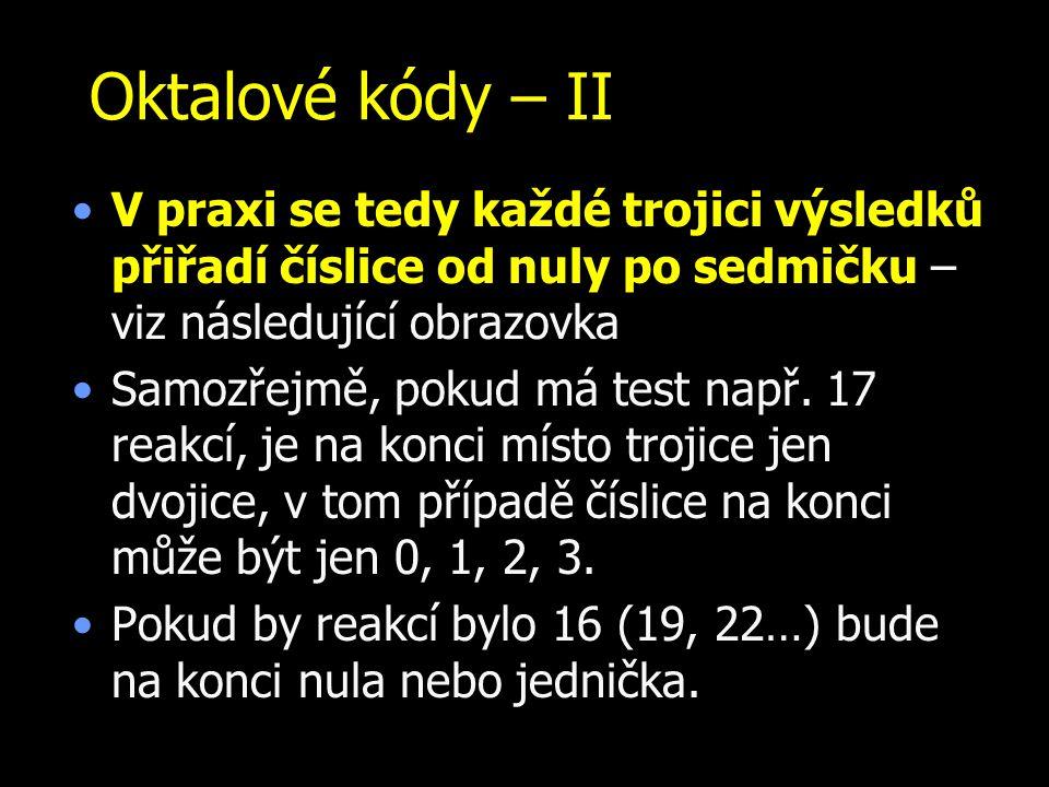 Oktalové kódy – II V praxi se tedy každé trojici výsledků přiřadí číslice od nuly po sedmičku – viz následující obrazovka.