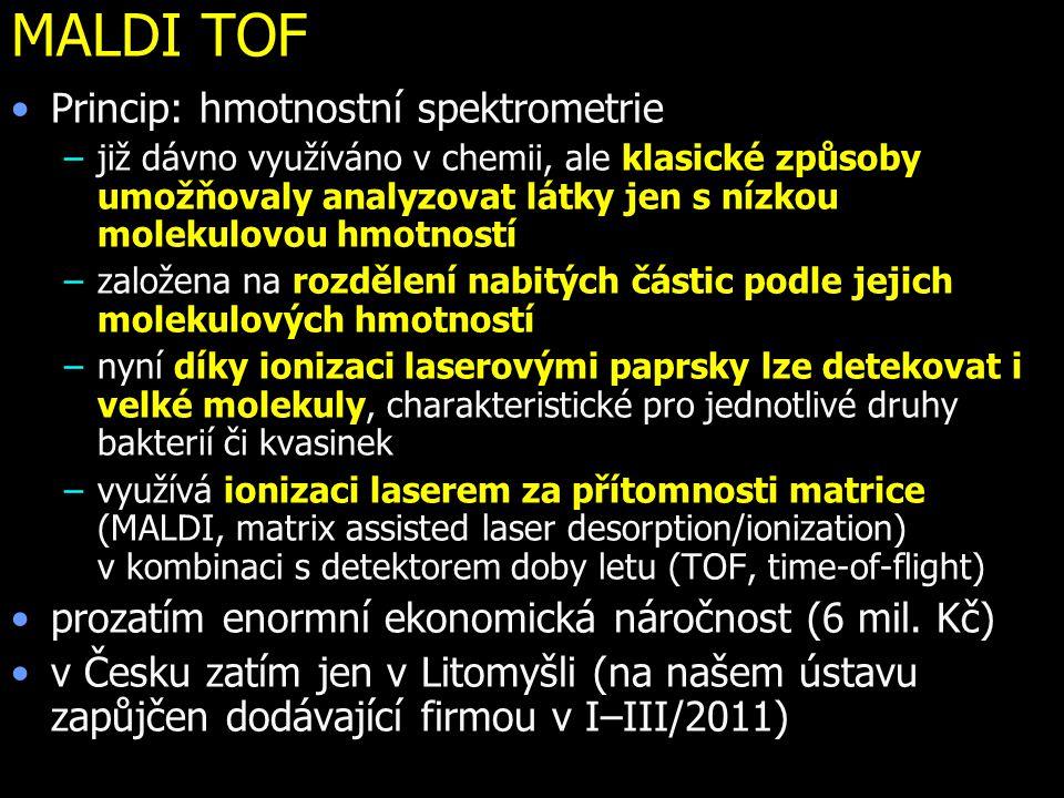 MALDI TOF Princip: hmotnostní spektrometrie