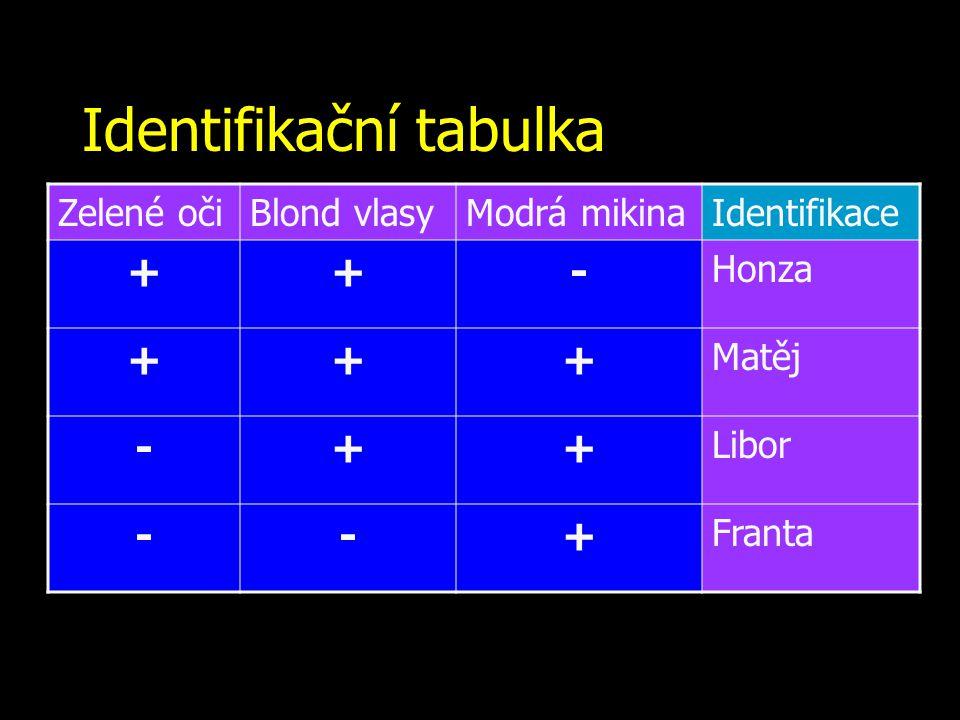 Identifikační tabulka